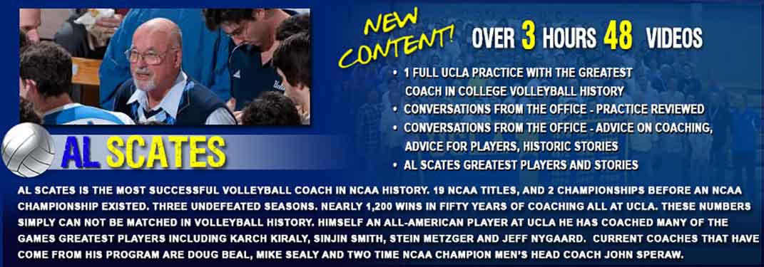 Al Scates - Greatest Indoor Volleyball College Coach Ever - 19 NCAA Championships - 1 Full Indoor Volleyball Practice Plan and Drills, Plus Volleyball Coaching Advice and Tips.