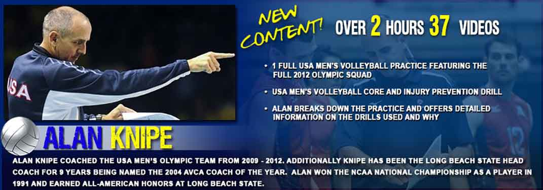 Alan Knipe - USA 2012 Olympic Volleyball Coach, 1 full USA Volleyball Practice and volleyball drills. Also volleyball warmup and workout drills.