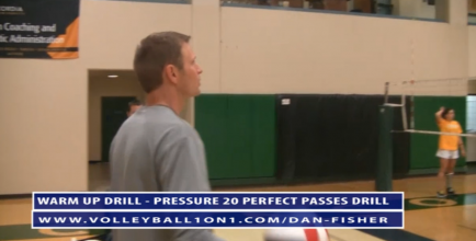 Dan Fisher Volleyball Warm Up Drill - 20 Pressure Passes Drill