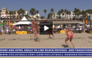 Kerri Walsh and April Ross - Line Block, Angle Defense with Volleyball Transition Hit, April Blocking