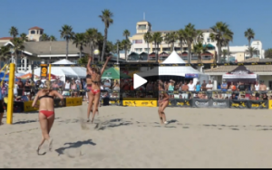 Volleyball Demonstration - Kerri Walsh and April Ross - Angle Block, Line Defense with April Blocking