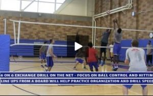 6 on 6 Exchange Drill on the Net at Uni High - Focus Ball Control and Controlled Hitting