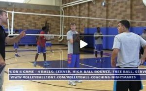 6 on 6 Game Wash Drill Serve Bounce Ball Free Ball and Serve  - Uni High - Day 2 - Part 1