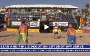 Demo 1 - Sean Rosenthal and Phil Dalhausser, Sideout on Cut Shot Off Serve, Sean Spiking