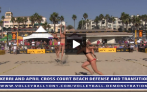 Kerri Walsh and April Ross - Angle Block, Line Defense with Volleyball Transition Hit, Kerri Blocking